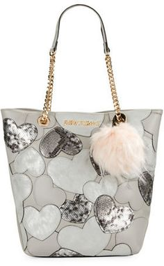 Only $68! Betsey Johnson Sweet Hearts Tote and Faux Fur Charm Set