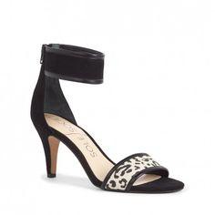 Women's White Black Suede 2 3/4 Inch Mid Heel Sandal   Vanya by Sole Society