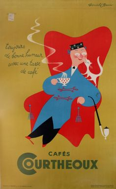 ein-bleistift-und-radiergummi:  Donald Brun Vintage Drink Poster Design'Cafes Courtheoux' 1930′s.( Cafes Courtheoux - toujours de bonne humeur avec une tasse de cafe (always happy with a cup of coffee).
