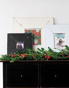 Festive Frames To decorate a mantel or cabinet for the holidays, put vintage cards and holiday photographs in interesting frames and display them en masse. Complete the look with a draped garland sprinkled with shiny ornaments. Christmas Feeling, Old Christmas, Christmas Mantels, Christmas Projects, Vintage Christmas, Christmas Holidays, Christmas Images, Christmas Ideas, The Block