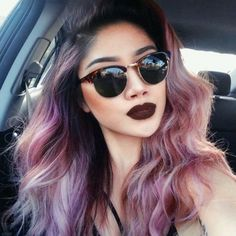 38. Dark #Roots with Warm Shades - 43 #Girls Rocking Pastel Hair ... → Hair #Rocking. Love the hair but I need those sunglasses.
