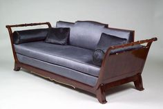 "French Art Deco sofa by Jules Leleu ""Richelieux"" lyre shaped sofa"