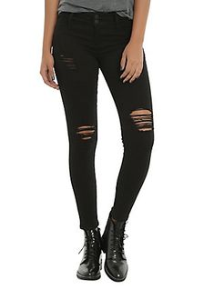 Black Deconstructed Skinny Jeans, BLACK