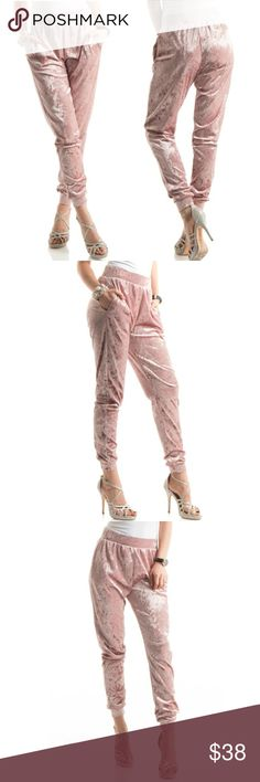 NEW! Premium crushed velvet joggers Light Mauve Pink Premium crushed velvet joggers with (SIDE POCKET). These adorable and fall fashion favorite also Come in a charcoal  S( 2-4) M (6-8) L(10-120  Made of 97%POLYESTER 3%SPANDEX.   MADE IN USA Happy Organics Boutique Pants Track Pants & Joggers
