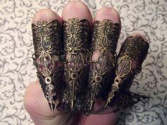Bronze Elven Leaf Claw Armor // Set of 5 by JekyllHydeJewelry
