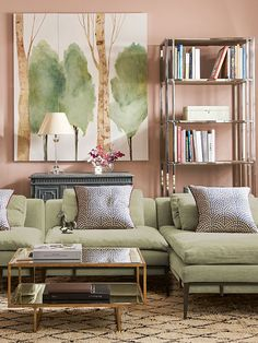 Palest Pink Peach Wall For GREEN Sofa Everything About This Informal Sitting Room Is Calming