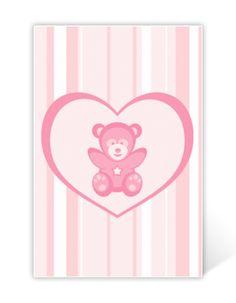 Geburtskarte mit Herz und Bär Silicone Molds, Heart, Births