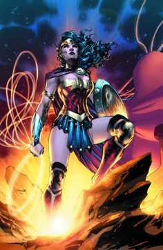 Cover art by Jim Lee for 'Wonder Woman Anniversary Special' published October 2016 by DC Comics Comics Anime, Dc Comics Art, Marvel Dc Comics, Wonder Woman Comic, Wonder Women, Superman Wonder Woman, Justice League, Comic Books Art, Comic Art