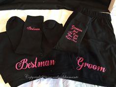Groom socks , groom boxers , bestman boxers , bestman socks , usher socks , usher boxers , groomsmen set , groomsmen gift set , groom gift by personaliseddiamante on Etsy