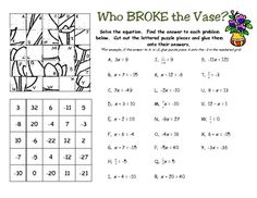Solving One Step Equations Fun Engaging Worksheet Activity