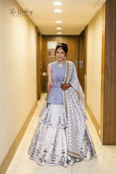 Looking for Silver and lavender peplum lehenga? Browse of latest bridal photos, lehenga & jewelry designs, decor ideas, etc. Designer Party Wear Dresses, Indian Designer Outfits, Indian Gowns Dresses, Pakistani Dresses, Indian Wedding Outfits, Indian Outfits, Bridal Outfits, Wedding Dress, Stylish Dresses