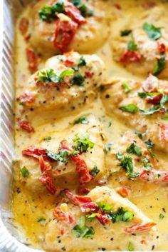 Romige kip met zongedroogde tomaten uit de Slowcooker