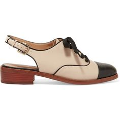 Sam Edelman Damian two-tone leather slingback brogues (€160) ❤ liked on Polyvore featuring shoes, oxfords, lace up shoes, sam edelman slingbacks, leather slingback shoes, sling back shoes and brogue shoes