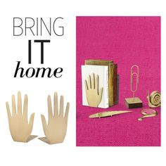 """""""Bring It Home: Kate Spade Zadie Drive Hand Book Ends"""" by polyvore-editorial ❤ liked on Polyvore featuring interior, interiors, interior design, home, home decor, interior decorating, Kate Spade and bringithome"""