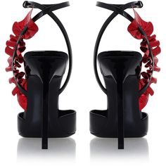 SAINT LAURENT Edie 110 Ruffle Leaf Courts ❤ liked on Polyvore featuring shoes, pumps, sling back pumps, red slingbacks, pointy shoes, red slingback pumps and red pumps