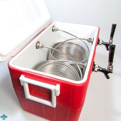 Keg Coil Cooler | 48 Qt. Double Tap Jockey Box Beer Cooler, 50' Coil