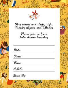 Little Golden Books theme baby shower invite