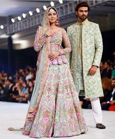 Nomi Ansari Bridal Collection at Pakistan Fashion Week 2017 Indian Bridal Outfits, Indian Bridal Fashion, Pakistani Wedding Dresses, Pakistani Outfits, Indian Dresses, Asian Fashion, Eid Outfits, Bollywood Wedding, Fashion Business
