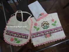 LOY HANDCRAFTS, TOWELS EMBROYDERED WITH SATIN RIBBON ROSES: Conjunto para menina (toalha, babador e fralda de ...