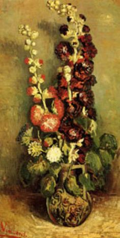 Vase with Hollyhocks by Vincent Van Gogh prints for sale. Vase with Hollyhocks Classic canvas, acrylic, custom frame prints. Orientation: vertical . Color tones: