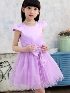 Stylish Bowknot Mesh Lace Patchwork Princess Girl's Dress