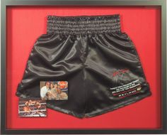 Mike Tyson's boxing shorts custom framed and ready to make a statement! #bradleysaf