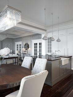 New kitchen classic grey interior design ideas Grey Walls Living Room, Living Room Flooring, New Living Room, Gray Walls, Grey Interior Design, Classic Interior, Floor Design, House Design, American Interior