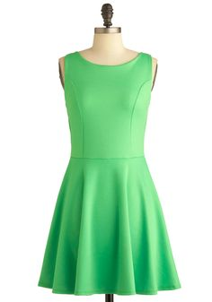 Green Appletini Dress - Mid-length, Green, Solid, Backless, Casual, A-line, Sleeveless, Summer $44.99
