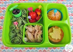 Bento lunch with tortellini, olives, tomatoes, roast chicken, mandarin, cheese and crackers. Lunchbox and all food picks and accessories available in New Zealand from www.thelunchboxqueen.co.nz