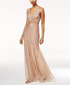 Adrianna Papell Beaded A-Line Gown - Dresses - Women - Macy's