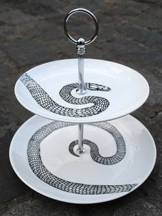 Items similar to Hand Drawn Cake Eating Snake Stand on Etsy Snake Cakes, Cake Platter, Dessert Tray, Kitchenware, Tableware, Snake Print, A Table, Dinnerware, How To Draw Hands