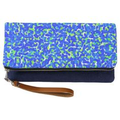 #trendy - #Blue and Green Abstract Pattern Clutch