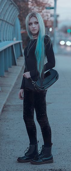 Dr. Martens Patent Leather Boots, Velvet Leggings  ///   More at http://LuckyMelli.com