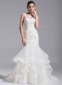 Trumpet/Mermaid Scoop Neck Court Train Cascading Ruffles Zipper Up Covered Button Cap Straps Sleeveless Church General Plus No Spring Summer Fall Ivory Tulle Lace Wedding Dress