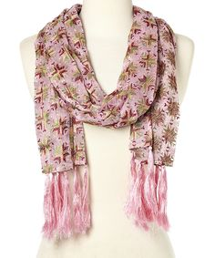 Love this Pink Mina Tassel Silk Scarf by Raj Imports on #zulily! #zulilyfinds
