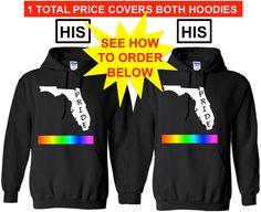 FLORIDA PRIDE His and His Lgbtq Pride Hoodie by ALLGayTees on Etsy