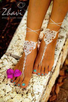 Licht Beige haak Bridal Barefoot sandals Lace naakt schoenen
