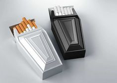 Coffin Smoke Box  the design of the box is functional yet is giving the message that smoking kills. the package is simple and effective.