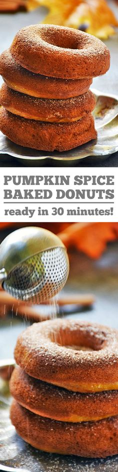 Easy, moist, and delicious baked Pumpkin Spice Donuts for fall are a perfect breakfast on the go any day of the week, and also make a great addition to your weekend brunch menu. Brunch Menu, Brunch Recipes, Breakfast Recipes, Snack Recipes, Dessert Recipes, Desserts, Brunch Ideas, Breakfast Ideas, Baked Pumpkin