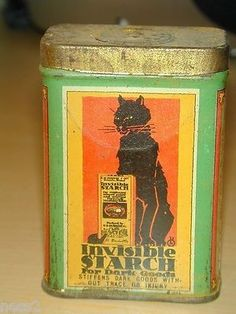 Invisible Starch by Durkee's Gauntlet Brand 2 oz net weight E.R. Durkee & Co. Very nice old Vintage Tin