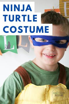 Learn how to make a DIY Ninja Turtle Costume for your little Leonardo, Michelangelo, Donatello, or Raphael fan! Made with flannel and fleece, this costume is comfortable for Halloween or pretend play. Diy Ninja Turtle Costume, Turtle Costumes, Costume Ninja, Homemade Halloween Costumes, Halloween Crafts, Halloween Ideas, Halloween Party, Modern Halloween, Vintage Halloween