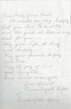 Laura Ingalls Wilder Letter