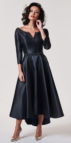 194dc81dfd1 Chic Satin Bateau Neckline A-line Mother Of The Bride Dress With Belt    Beadings