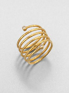 GURHAN - Diamond & 24K Yellow Gold Spring Wrap Ring