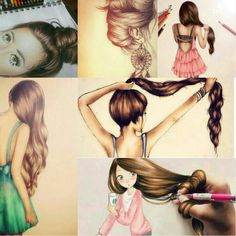 more hair drawings.....see where the Highlights and shadows are located.