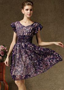 Purple Short Sleeve Floral Pleated Chiffon Dress
