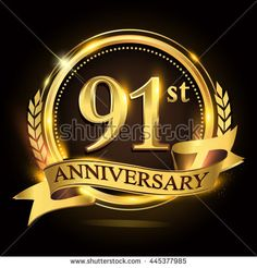 91st golden anniversary logo with ring and ribbon, laurel wreath vector design. - stock vector