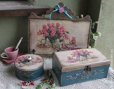"""""""Праздничное чаепитие"""" набор - бирюзовый,набор для кухни,чаепитие,розы"""