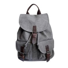 €19,45 URBAN LOOP   Zaino in   tela uomo cachi grigio con tasche e fibbie design vintage army   Faux Leather Backpack