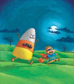#MichaelParaskevas #Halloween #illustration for Hamptons' based newspaper #DansPapers #whimsical #humorous #scary #candycorn #lindgrensmith